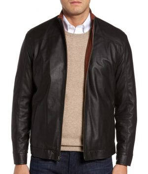 Mens Slimfit Casual Style Black Cafe Racer Leather Jacket
