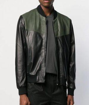 Mens Slimfit Casual Style Bomber Leather Jacket