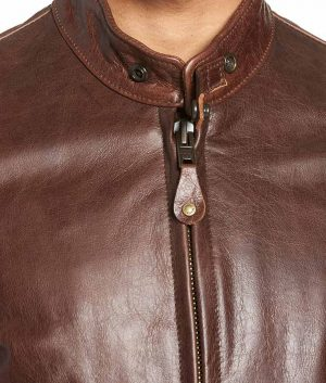 Mens Slimfit Cafe Racer Style Brown Zip Up Leather Jacket