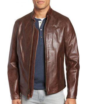 Locklear Mens Slimfit Cafe Racer Style Zip Up Leather Jacket