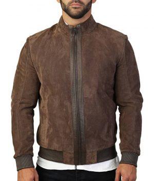 Luke Mens Slimfit Mandiran Collar Suede Brown Bomber Leather Jacket