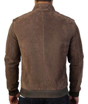 Luke Mens Slimfit Casual Mandiran Collar Suede Brown Bomber Leather Jacket