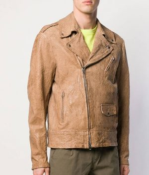 Marcel Mens Casual Style Textured Brown Leather Jacket