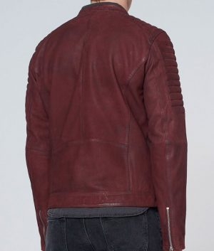 Mark Mens Burgundy Round Collar Slimfit Padded Shoulders Leather Jacket