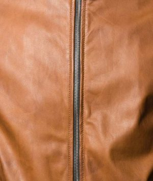 Martinez Mens Casual Cafe Racer Style Brown Bomber Leather Jacket