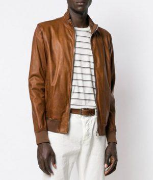 Martinez Mens Cafe Racer Style Slimfit Brown Bomber Leather Jacket