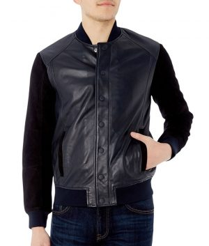 Mathias Mens Mandiran Collar Slimfit Black Varsity Jacket