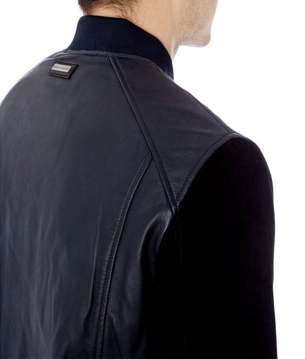 Mathias Mens Slimfit Black Suede Varsity Jacket