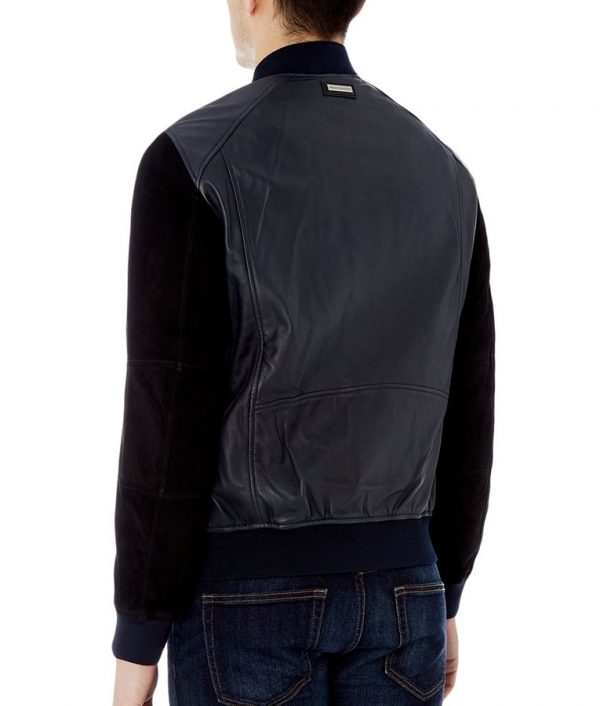 Mathias Mens Mandiran Collar Slimfit Black Suede Varsity Jacket