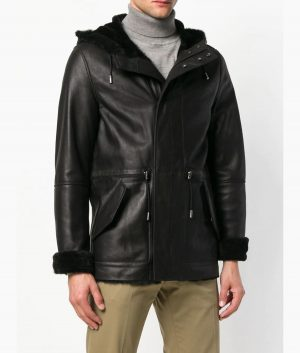 Patterson Mens Reversible Hooded Shearling Jacket