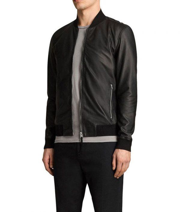 Randall Mens Cafe Racer Style Slimfit Black Bomber Leather Jacket