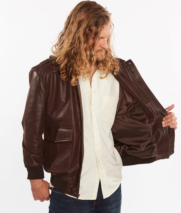 Cabrera Mens Flight Genuine Brown Leather Jacket