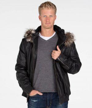 Christopher Mens Hooded Black Bomber Leather Jacket