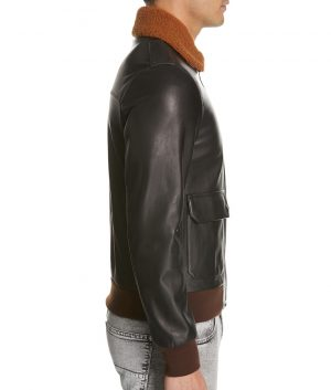 Angelo Mens Genuine Shearling Collar Leather Brown Bomber Jacket
