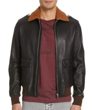 Angelo Mens Genuine Shearling Collar Brown Bomber Jacket