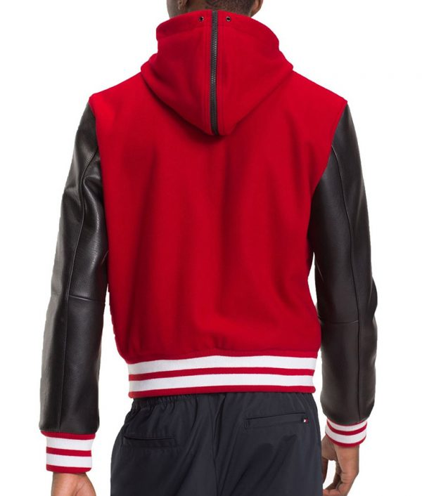 Frank Mens Hooded Varsity Bomber Leather Jacket
