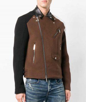 Mens Turn Down Collar Slimfit Distressed Black Leather Jacket
