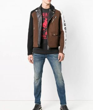 Mens Lapel Collar Logo Printed Biker Leather Jacket