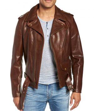 Johnson Mens Slimfit Brown Cowhide Leather Jacket