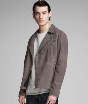 Richard Mens Lapel Collar Slimfit Grey Biker Leather Jacket