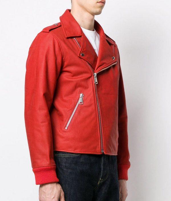 Mens Lapell Colar Biker Red Leather Jack