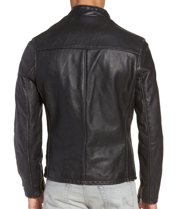 Brickey Mens Mandiran Collar Cafe Racer Vintaged Cowhide Leather Jacket