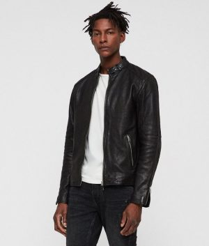 Jackson Mens Mandiran Collar Cafe Racer Style Jet Leather Jacket
