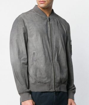 Westover Mens Mandiran Collar SGrey Bomber Leather Jacket
