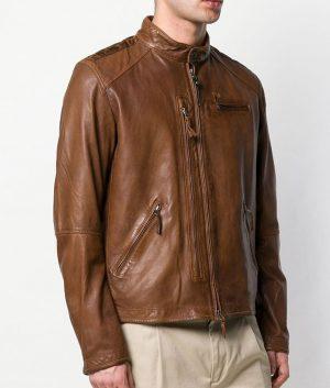 Perry Mens Brown Lambskin Zipped Jacket