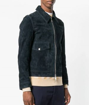 Jamison Mens Navy Blue Zipped Suede Leather Jacket