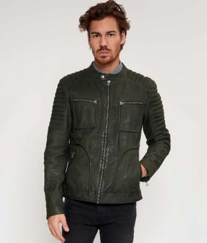Willie Mens Round Collar Padded Shoulders Slimfit Green Leather Jacket