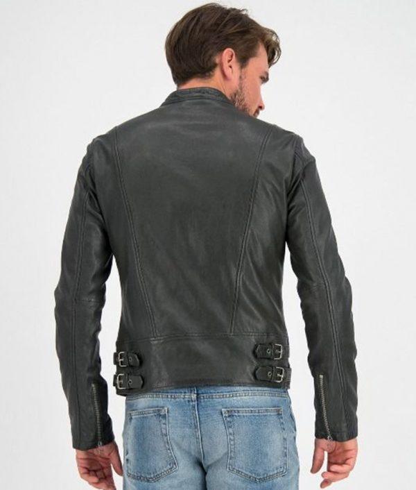 Bates Mens Round Collar Slimfit Black Cafe Racer Style Leather Jacket
