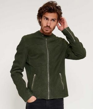 Ralph Mens Round Collar Casual Style Leaf Green Biker Jacket