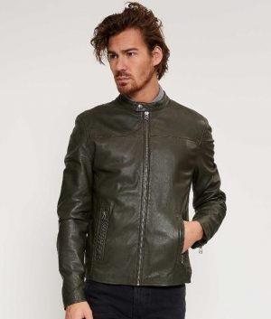 Briggs Mens Round Collar Tight fit Leaf Green Biker Jacket