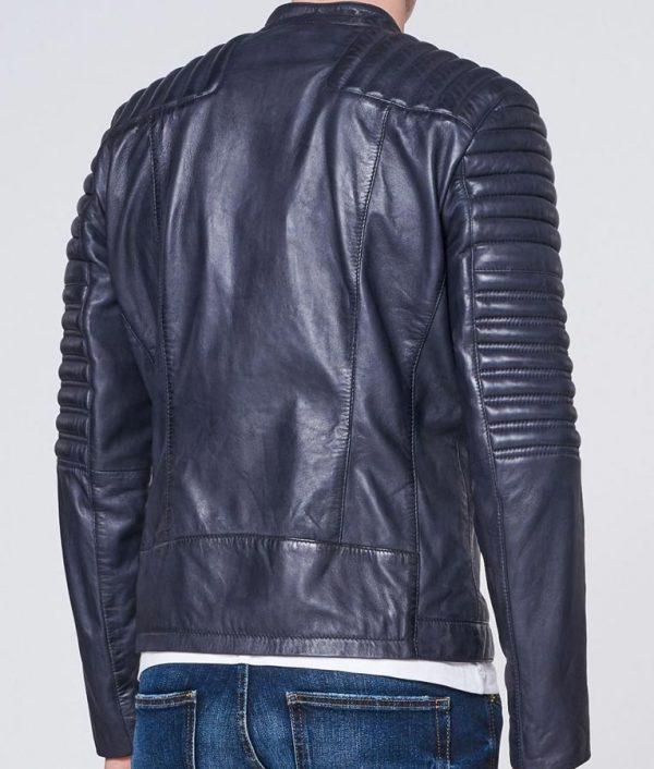 Raymond Mens Round collar Padded Shoulders Slimfit Style Leather Jacket