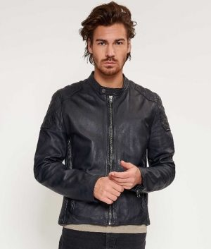 Barnes Mens Slimfit Cafe Racer Style Dark Navy Leather Jacket