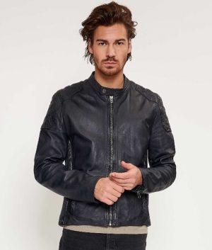 Barnes Mens Slimfit Cafe Racer Style Dark Navy Leather Jacket
