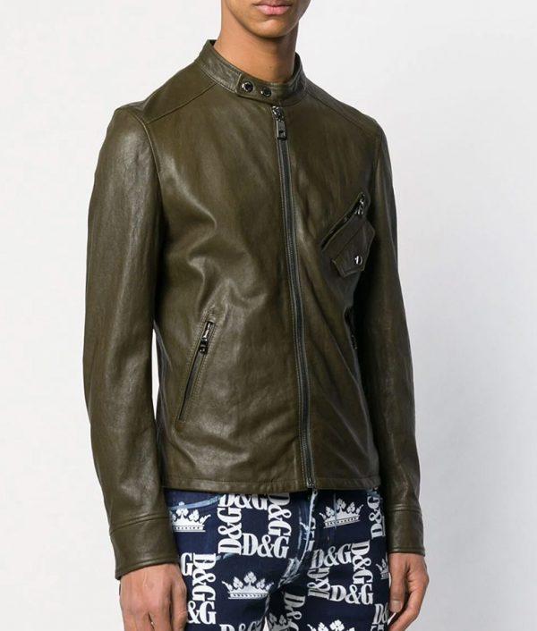 Brandon Mens Cafe Racer Zipped Up Bomber Leather Jacket