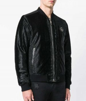 Flores Mens Slimfit Crocodille Black Bomber Leather Jacket