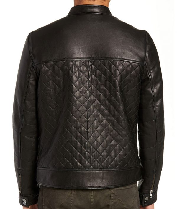 Armstrong Mens Slimfit Diamond Leather Biker Leather Jacket