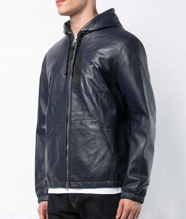 Raymond Mens Slimfit Hooded Blue Leather Jacket