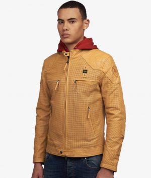 Garnica Mens Slimfit Cafe Racer Style Sunflower Leather Jacket