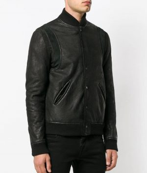 Henson Mens Casual Style Black Bomber Leather Jacket