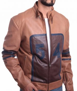 Genaro Mens Tan Brown Cowhide Racing Leather Jacket