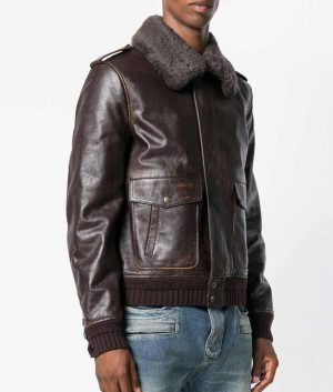 Marcos Mens Turn Down Collar Brown Shearling Fur Collar Jacket