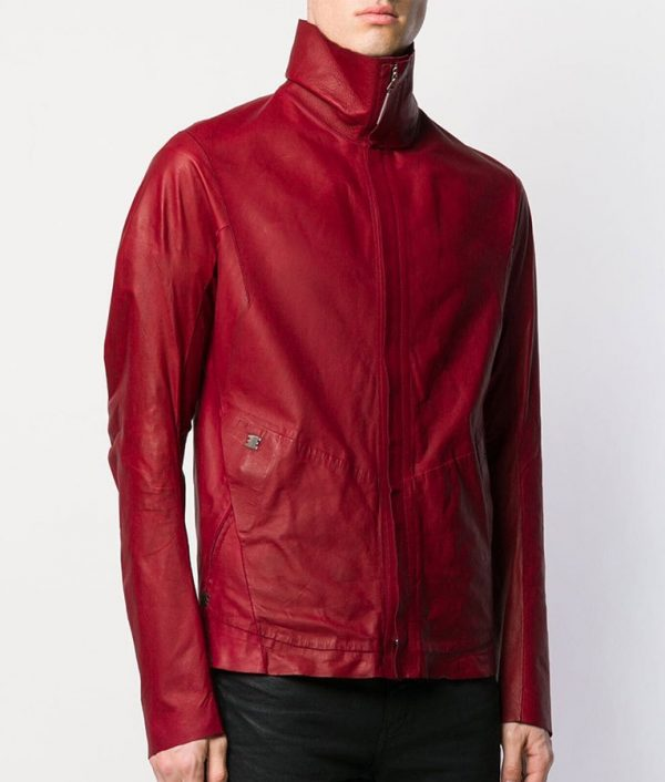 Flora Mens Turn Down Collar Calf Leather Zipped Up Jacket