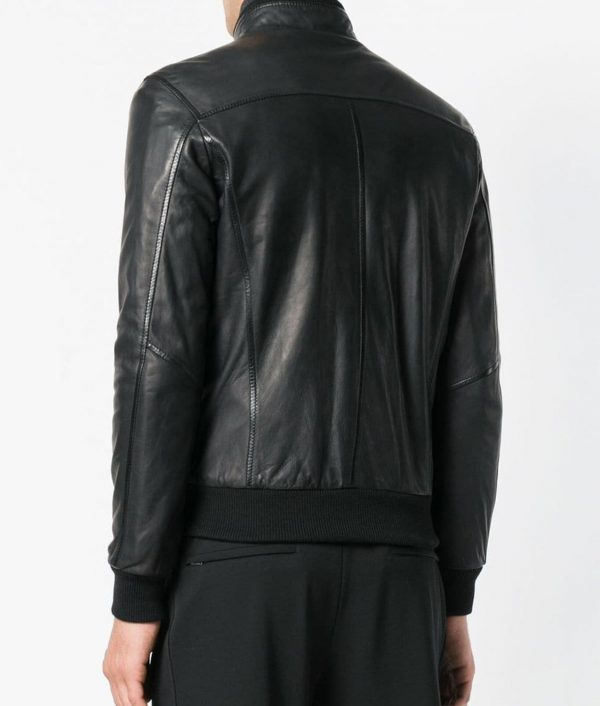 Chavez Mens Collar Slimfit Black Bomber Leather Jacket