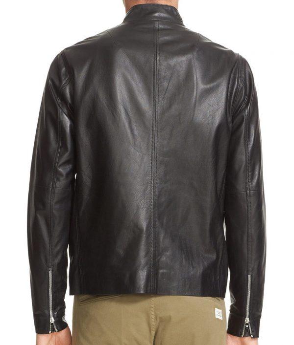 Burke Mens Slimfit Black Cafe Racer Leather Jacket