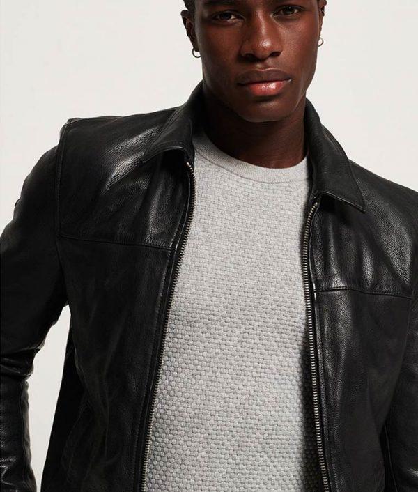 Spangler Mens Turn Down Collar Black Leather Jacket