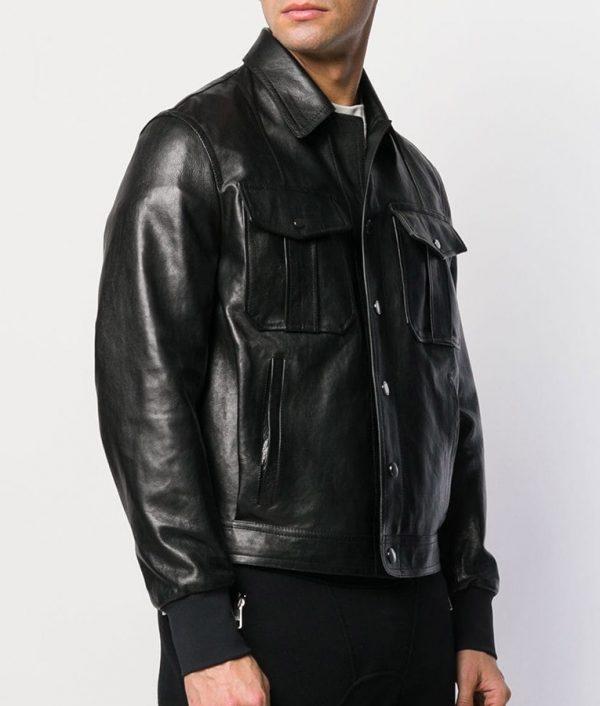 Adams Mens Turn Collar Slimfit Bomber Black Leather Jacket